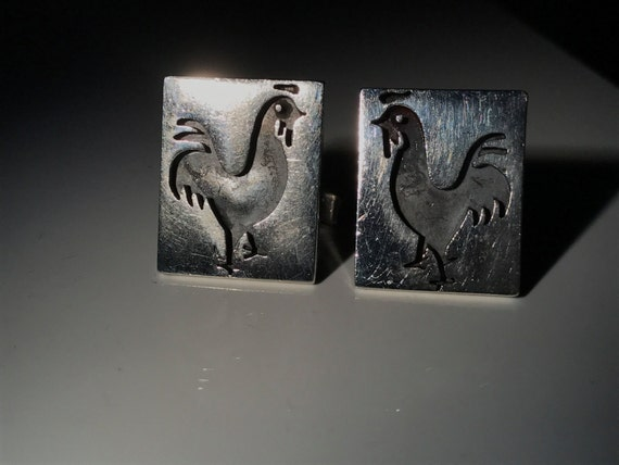 1965 Taxco Sterling Silver Rooster Cufflinks by Margarita - Year of the Cock