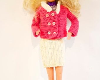 Vintage Barbie Doll Clothing Crocheted Jacket and Skirt