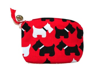 Scottie Scottish Dog Lover Gift Idea Dog Bag Dog Zipper Bag Dog Accessory Cotton Coin Purse Small Coin Purse Dog Coin Purse made in France