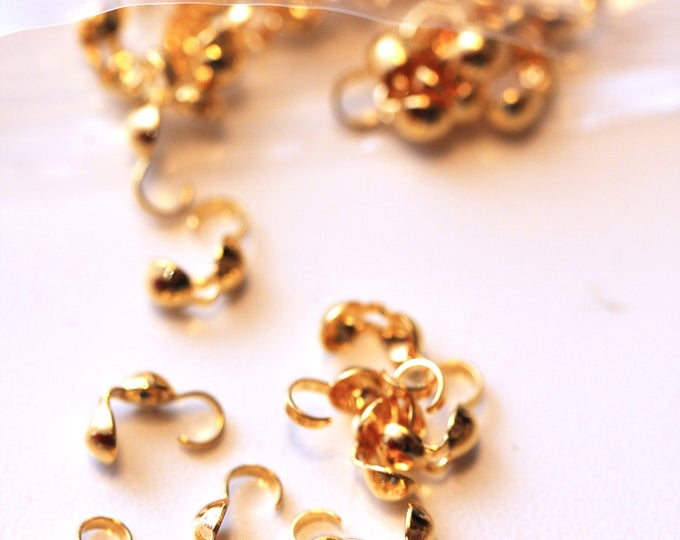 Pack of 10 Gold Tone Clamshell Crimp Cover Beadtip Jewelry Findings 8x3.5mm, Pack of Gold Tone Crimp Covers, Jewelry Craft Supplies