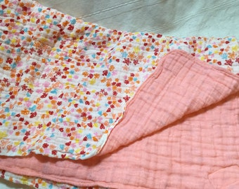 """43"""" x 47"""" Swaddle Blanket Double Sided -Double Gauze Blanket Cotton Wildflowers in Scarlet Embrace with Solid Banana Coral Embrace Girl"""