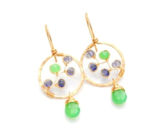 Chrysoprase Earrings, Mint Green Chrysoprase & Violet Blue Iolite Gemstone Earrings, Small Artisan Hoop Dangles, Gold Chrysoprase Earrings