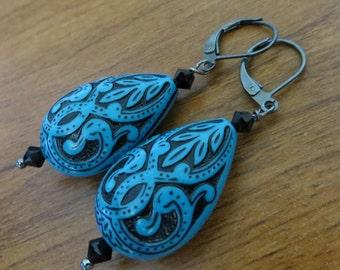 Parisien nuits Vintage Style Turquoise Aqua gravés de boucles d'oreilles