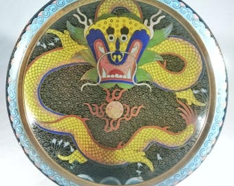 Antique Chinese Cloisonne Bowl With Central Interior Dragon And Exterior Dragons Chasing Flaming Pearls.