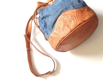 Handmade denim and tooled leather vintage bucket bag