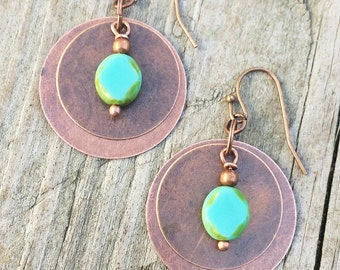 Copper Drop Earrings with Turquoise Czech Glass