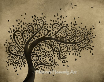 Whimsical Art Tree Wall Print, Curly Branches Blowing Leaves, 8 x 10 Print, Natural Brown Decor, Earthy Colors (106)