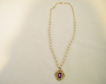 Vintage Repurposed Purple  Rhinestone Pearl Pendant Necklace