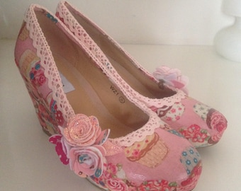 Cupcake shoes , wedge shoes, cup cake shoes, bridal shoes, pink shoes, felt flowers, ladies shoes, wedding shoes, quirky heels,