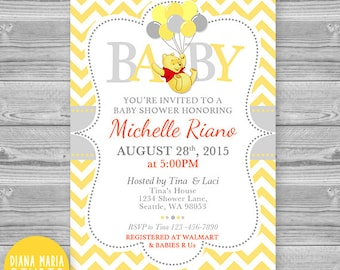 Winnie the pooh baby shower invitation classic winnie the baby shower invitation winnie the pooh printable yellow chevron invites winnie the pooh with filmwisefo Images