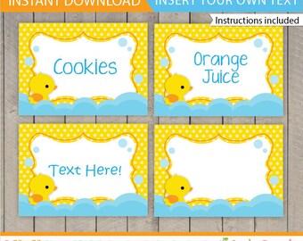 Duck Food Labels / Rubber Duck Food labels / Rubber Duck Birthday Food Tent / Rubber Duck Table Tent / Duck Decoration / INSTANT DOWNLOAD
