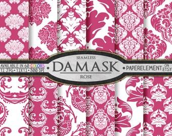 Pink Rose Damask Scrapbook Digital Paper Pack  - Printable Backdrops - Instant Download
