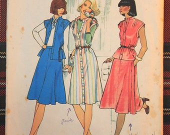7350 Simplicity Size 10 Bust 32 1/2 Vintage 1976 Dress Pattern FREE SHIPPING