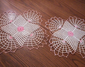 Vintage  Pair of Pink and White Crochet Doilies - Perfect