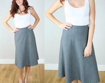 Vintage 80s Wool Flannel Midi Skirt