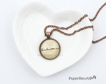 Bookworm Necklace - Bookworm for Her - Book Jewelry - Bookworm Pendant - Book Lover Pendant - Reader Necklace - Reading Gifts -   (B3391)