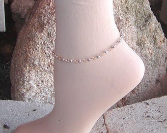 Anklet - Ankle Bracelet - Two Tone Gold Wire Silver Bead Ankle Bracelet - Silver and Gold Ankle Bracelet - Body Jewelry - Great Gift