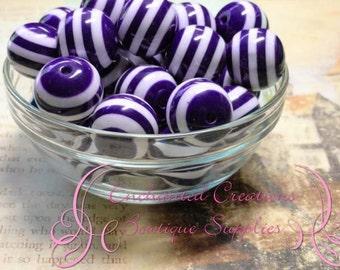 20mm Purple and White Striped Resin Beads, Chunky Beads, Bubblegum Beads, Gumball Beads, Chunky Jewelry Beads, Resin Beads
