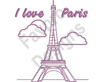 I Love Paris - Machine Embroidery Design