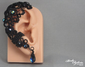 gothic ear wrap 'Raven' - wire wrapped ear cuff, black ear cuff, gothic ear cuff, gothic gift for her, victorian mourning jewelry