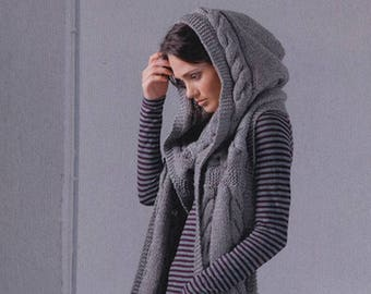 215cm Hand Knit 50% SUPER CHUNKY Wool Hooded Scarf , 85'' Extra Long ALPACA Wool cable Women Girl Hood Shawl / Handmade Gifts / 200 Colors
