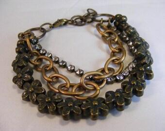 Copper Flower Crystal Bracelet