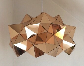 Gold Mirror Geometric Sculptural Pendant Light FULL DOME