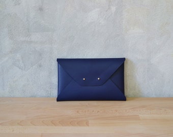 Navy blue leather clutch bag / Blue Envelope clutch / Leather bag available with wrist strap / Genuine leather / Leather bag