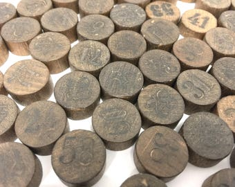 87 Pc Set Vintage Wood Bingo Game Pieces, Round Number Tokens, Craft Supplies, Altered Art