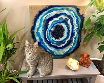 Blue Agate - Geode Resin Painting