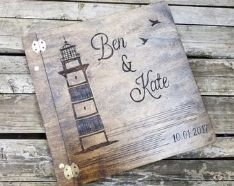 Coastal Wedding Guest book, wooden wedding guest book, custom guest book, lighthouse, rustic wedding guestbook, alternative, keepsake