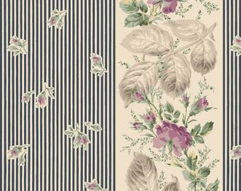 Victorian Rose RURU by Quilt Gate Rose Stripe in Navy RU2320-11C  Choose your cut  YES!! Continuous fabric cuts & combined shipping