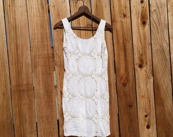 1990s SML white crochet mini fitted dress