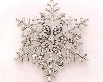 Snowflake Brooch, Winter Wedding Brooches, Snowflake Bridesmaid Brooch, Bouquet Brooches, Silver Snowflake Broach, Snowflake Bridal Brooch