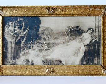 Breathtaking Victorian Yard Long Litho Goddess Maiden Original Frame