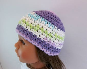 18 inch Doll  Crochet Hat  Purple and White  Accessories Toys