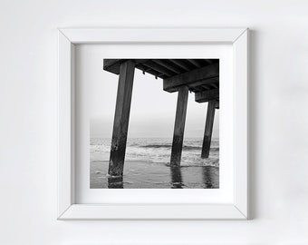 Black and white photography - Coastal pier wall art - Tybee Island - Ocean beach print - Large square art - Fathers Day photo gift - 12x12