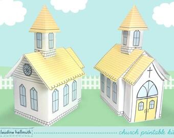 church - favor box for weddings, baptisms, Easter, centerpiece decoration printable PDF kit - INSTANT download