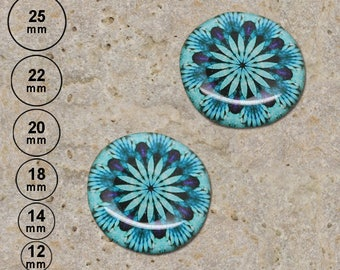 2 round cabochon 20 mm resin turquoise kaleidoscope print is available in 25, 22, 18, 14, 12 mm