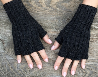 Black fingerless gloves fingerless black gloves women gloves black knit gloves short black gloves half finger gloves alpaca wool pure alpaca