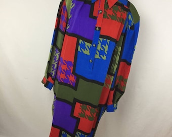 Vintage Anne Crimmins for Umi Collections Dress 16 Silk Sheath Button Front 90s 80s Red Blue Green Geometric S2