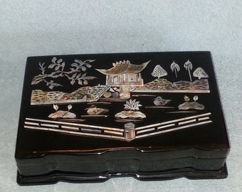 Asian Jewelry Box - Black Lacquer with Inlaid Mother of Pearl