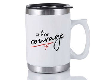 Cup Of Courage Travel Mug - White Elephant Gift - Christmas Gag Gift - Holiday Gift Exchange - Stocking Stuffer - Office Party Gift