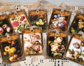 Beautiful Floral Tags, Set of 9 Vintage Style Gift Tags, Garden Party Tags, Flower Gift Wrap