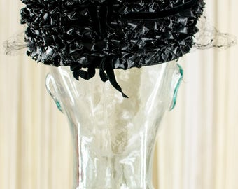 1950's Black Pillbox Hat