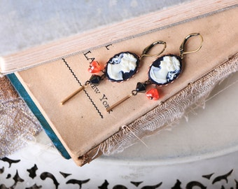 Anthropologie Style, Black and White Cameo, Coral and Black Earrings, Vintage Cameo Earrings