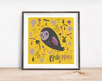 Magic Maker Owl Art Print