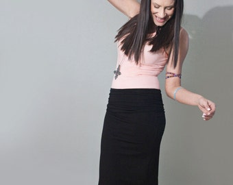 Pencil Skirt | Black Skirts | Tall Petite Length | Minimalist Bohemian | Close Fit | Made in our USA loft | L415&Co Clothing (# 415-12)