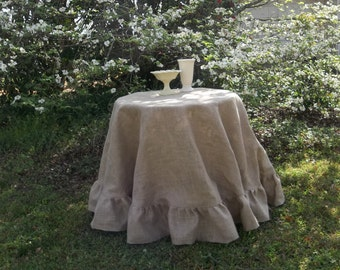 "90"" Ruffled Burlap Tablecloth Handmade Ruffed Tablecloth Floor Length French Country Wedding Decorations Table Decor Custom Sizes"