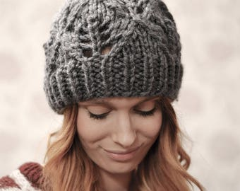 Womens Graphite Super Chunky Knitted Beanie Hat, 24 Colours
